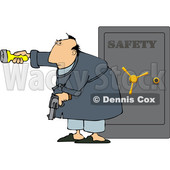 Cartoon Man Holding a Gun and Flashlight in Front of His Safe © djart #1666027