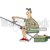 Cartoon Man Putting a Worm on a Fishing Hook © djart #1666952