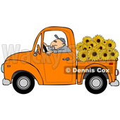 Cartoon Farmer Driving a Truck Full of Sunflowers © djart #1666953