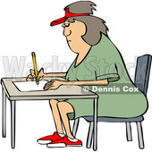 Cartoon Woman Writing at a Desk © djart #1666954
