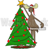 Moose Decorating a Christmas Tree © djart #1668267