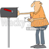 Cartoon Man Putting a Letter in a Mailbox © djart #1670085