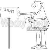 Cartoon Man Putting a Letter in a Mailbox © djart #1670086