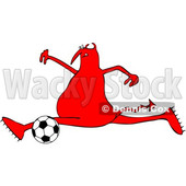 Cartoon Chubby Devil Playing Soccer © djart #1680796
