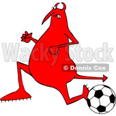 Cartoon Chubby Devil Playing Soccer © djart #1680797