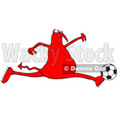 Cartoon Red Devil Playing Soccer © djart #1680798