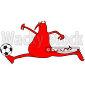 Cartoon Red Devil Playing Soccer © djart #1680799