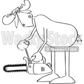 Cartoon Moose Powering up a Chainsaw © djart #1680802