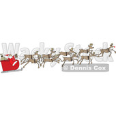 Cartoon Santa and Magic Reindeer in Flight © djart #1690832