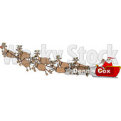Cartoon Santa Claus and Magic Reindeer in Flight © djart #1691565