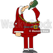 Cartoon Santa Claus Drinking Wine from the Bottle © djart #1692066