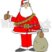 Cartoon Santa Claus Hitchhiking on Christmas © djart #1692067