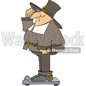 Cartoon Pilgrim Standing on a Scale Showing Holiday Weight Gain After Thanksgiving © djart #1692267