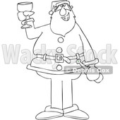 Cartoon Black and White Santa Giving a Christmas Toast © djart #1692314