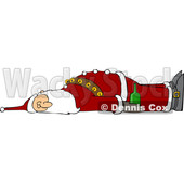 Cartoon Drunk Santa Laying down © djart #1692318