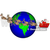 Cartoon Santa and Magic Reindeer Flying over Earth © djart #1692319
