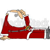 Cartoon Santa Sitting on the Floor © djart #1692320