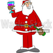 Cartoon Santa Giving a Christmas Toast © djart #1692321