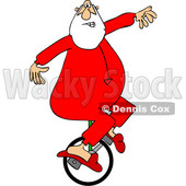 Cartoon Santa Riding a Unicycle in His PJs © djart #1692322