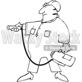 Cartoon Man Using a Fire Extinguisher © djart #1693406