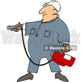 Cartoon Man Using a Fire Extinguisher © djart #1693414