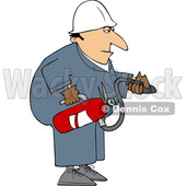 Cartoon Man Using a Fire Extinguisher © djart #1693416