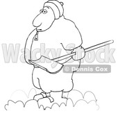 Cartoon Chubby Guy Holding a Snow Shovel © djart #1693810