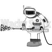 Cartoon Chubby Astronaut Spraying Stars with a Pressure Washer © djart #1694592