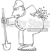 Cartoon Male Worker with Back Pain from Digging © djart #1694779
