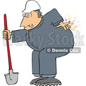 Cartoon Male Worker with Back Pain from Digging © djart #1694781
