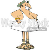 Cartoon Grinning Man in a Toga and Olive Branch © djart #1694782