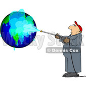 Clipart of a Cartoon Worker Pressure Washing a Globe - Royalty Free Vector Illustration © djart #1694818