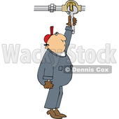 Cartoon Male Worker Turning a Valve © djart #1695170