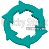 Environmental Clipart Illustration Image of a Blue Circle of Water Arrows Moving in a Clockwise Motion, Symbolizing Recycling, Saving Water, Materials or Energy © djart #16955