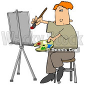 People Clipart Illustration Image of a Red Haired Male Artist Sitting on a Stool and Holding a Palette While Oil Painting a Portrait on a Canvas on an Easel © Dennis Cox #16956