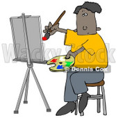 People Clipart Illustration Image of an Black Male Artist Sitting On A Stool And Holding A Palette While Oil Painting A Portrait On A Canvas On An Easel © Dennis Cox #16957