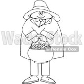 Cartoon Black and White Leprechaun Holding a Pot of Gold © djart #1695722
