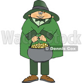 Cartoon Leprechaun Holding a Pot of Gold © djart #1695725