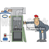 Cartoon HVAC Worker Holding a Stethoscope up to a Furnace © djart #1695877