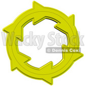 Environmental Clipart Illustration Image of a Yellow Circle of Arrows Moving in a Clockwise Motion, Symbolizing Recycling Materials or Energy © Dennis Cox #16959