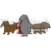 Animal Clipart Illustration Image of a Group of Bad and Mischievous Brown and Gray Dogs Pissing on a Red Fire Hydrant © Dennis Cox #16960