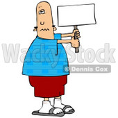 People Clipart Illustration Image of a Patriotic Bald Caucasian Man In A Blue Shirt With An American Flag Pattern Holding A Blank White Sign © djart #16961