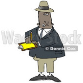 People Clipart Illustration Image of a Male African American Inspector In A Hat And Suit, Writing Notes On A Clip Board While Investigating © Dennis Cox #16977