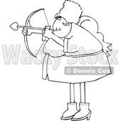 Cartoon Chubby Female Cupid Aiming an Arrow © djart #1697844
