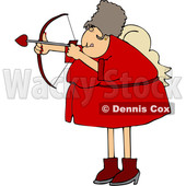 Cartoon Chubby Female Cupid Aiming an Arrow © djart #1697846