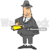 People Clipart Illustration Image of a Male Caucasian Inspector In A Hat And Suit, Writing Notes On A Clip Board While Investigating © djart #16979