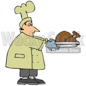 People Clipart Illustration Image of a Male Caucasian Chef Carrying A Cooked Turkey On A Tray And Trying Not To Fall Asleep While Working © djart #16980