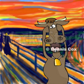 Animal Clipart Illustration Image of a Stressed Out Brown Dairy Cow Holding its Hooves to its Cheeks While Screaming, a Humorous Parody of The Scream by Edvard Munch © Dennis Cox #16981