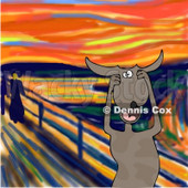 Animal Clipart Illustration Image of a Stressed Out Brown Dog Holding His Paws to His Cheeks While Screaming, a Humorous Parody of The Scream by Edvard Munch © Dennis Cox #16982