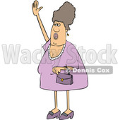 Cartoon Chubby Woman Shouting and Waving © djart #1698758